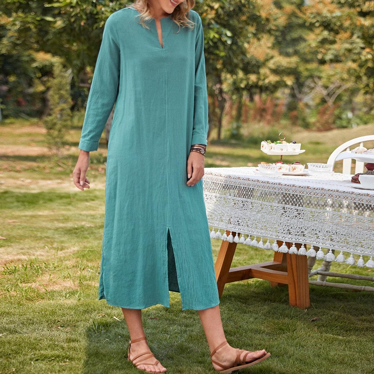 Tunika Kleid mit eingekerbtem Kragen und Schlitz