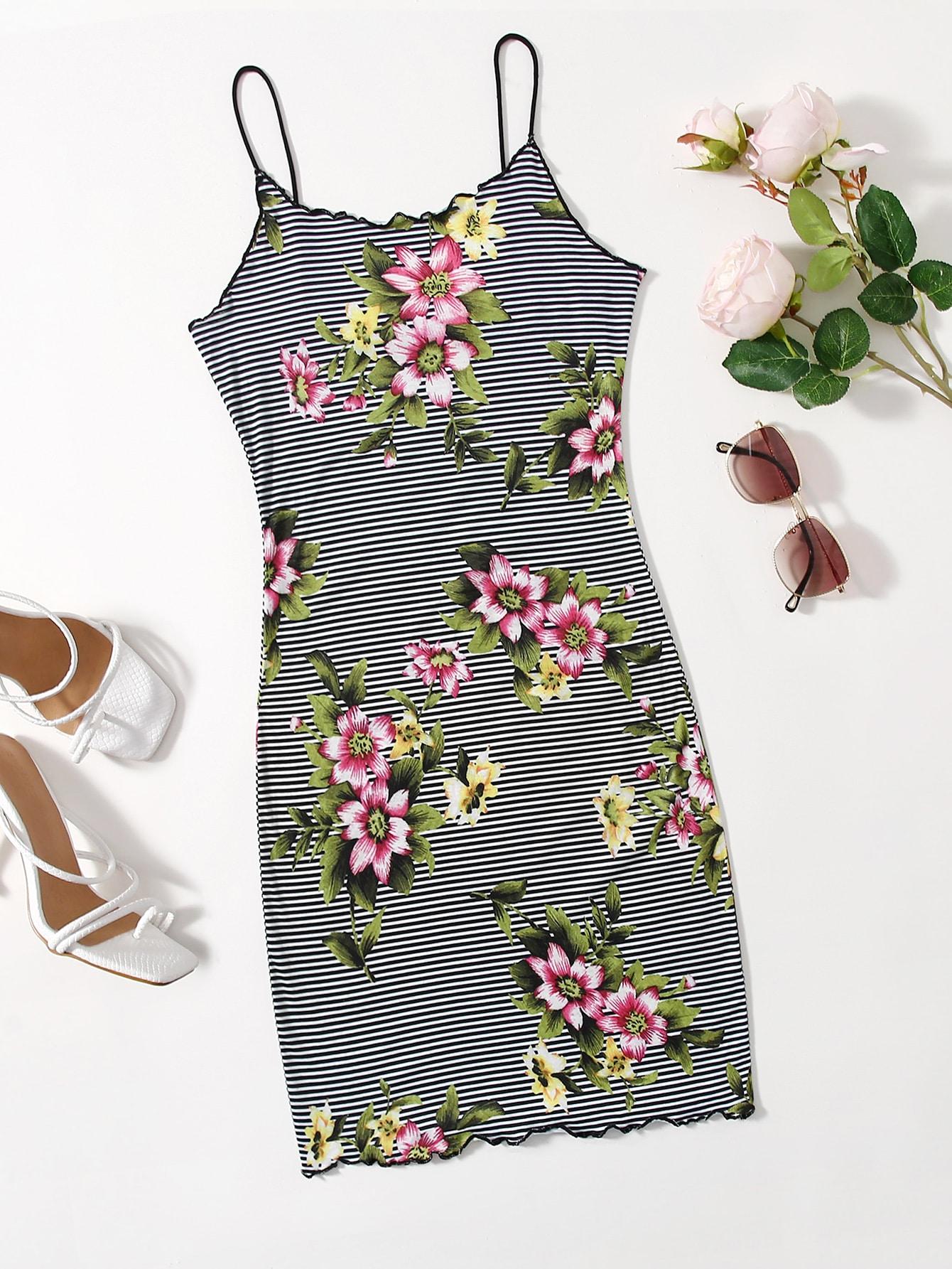 floral & striped print lettuce trim dress