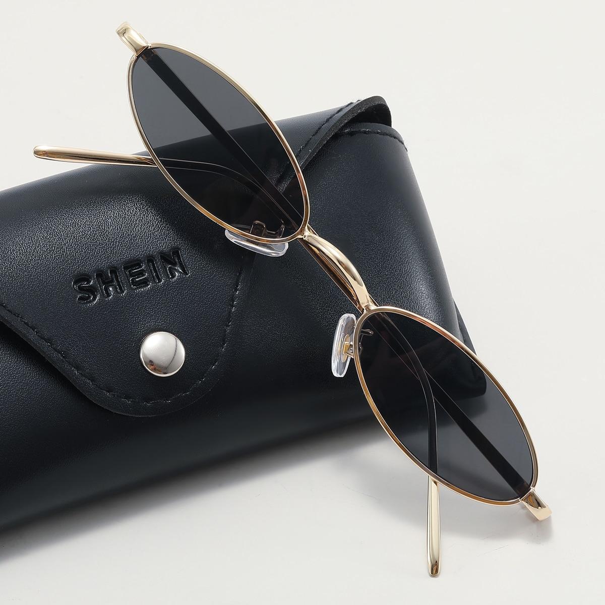 SHEIN Zonnebril met ovaal metalen montuur voor heren