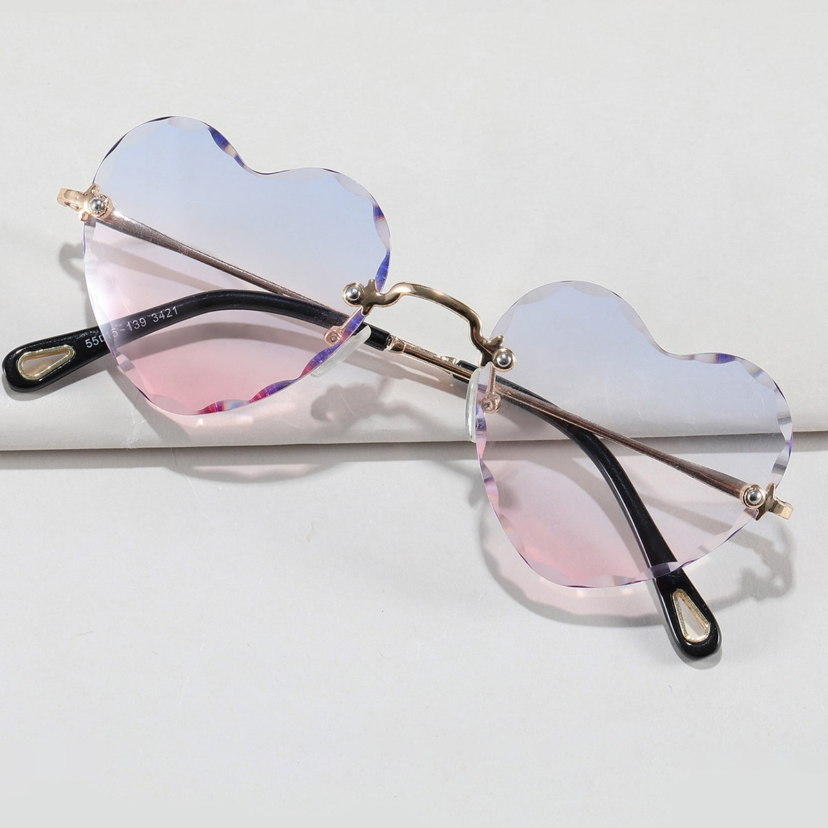 Heart Design Rimless Sunglasses