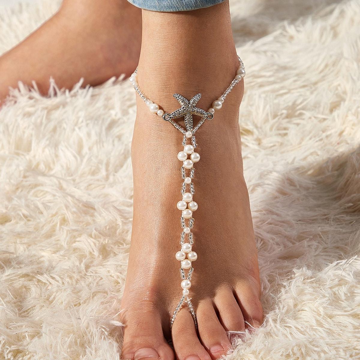 Ножной браслет с искусственным жемчугом варежки от SHEIN