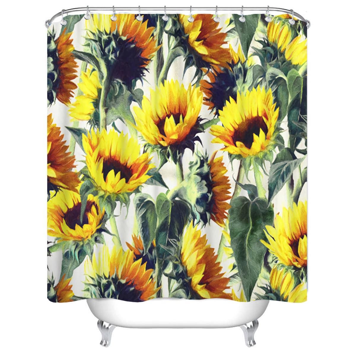 1 Stück Duschvorhang mit Sonnenblumen Muster