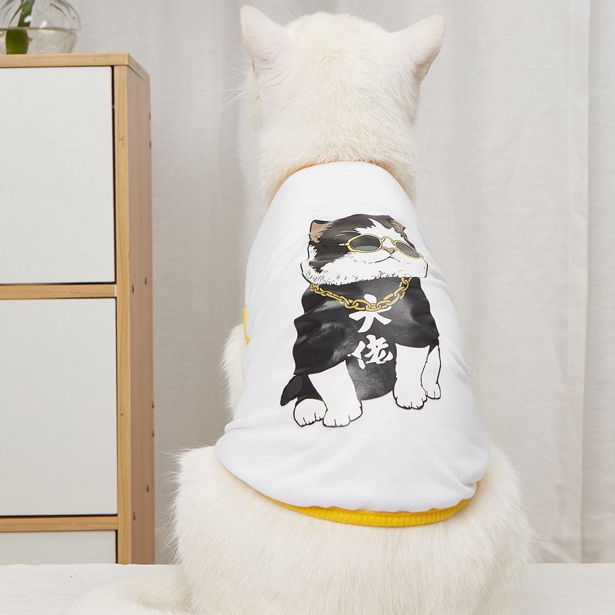 Haustier Tank Top mit Karikatur Katze Muster