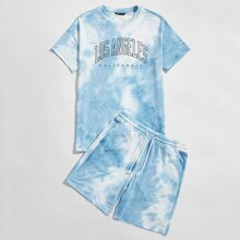 Guys Letter Graphic Tie Dye Tee & Shorts Set