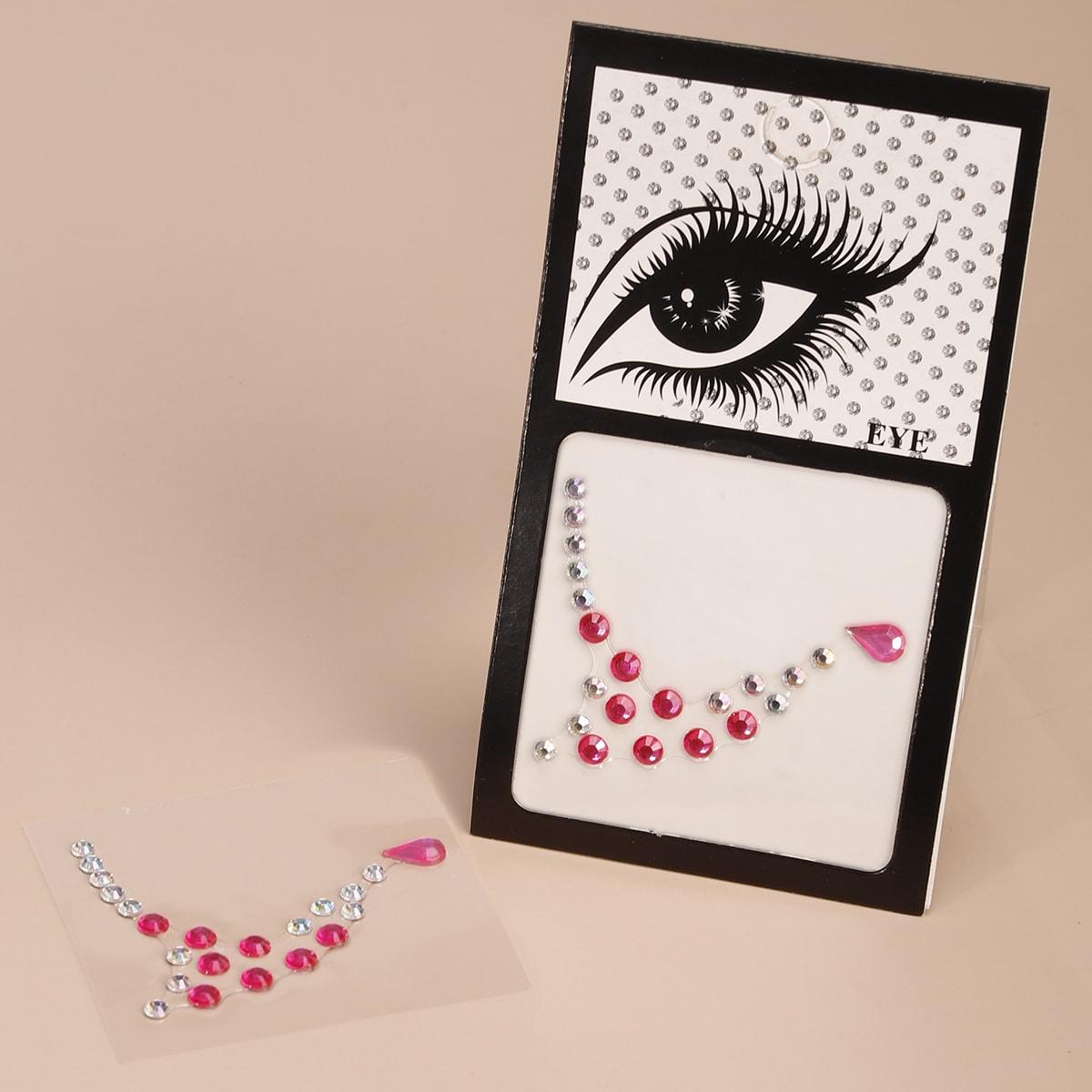1 feuille Autocollant de tatouage pour yeux avec strass