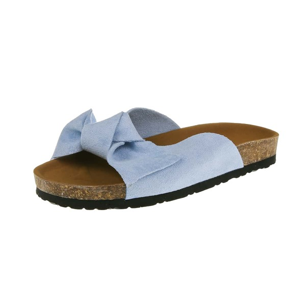 Bow Decor Footbed Sandals, Baby blue