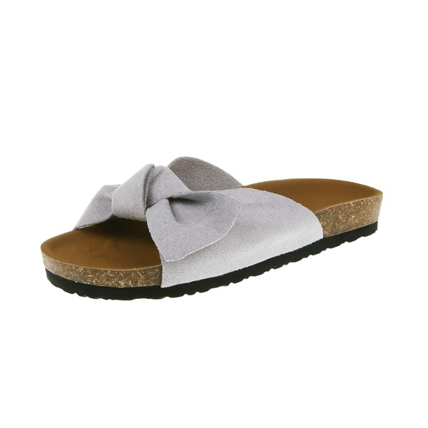 Bow Decor Footbed Sandals, Grey