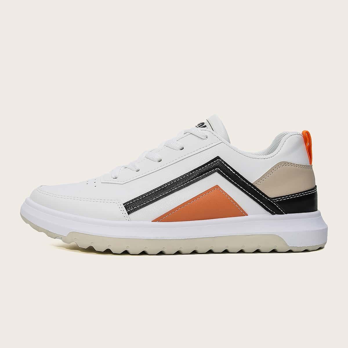 SHEIN Herensneakers met kleurvlakken en veters aan de voorkant