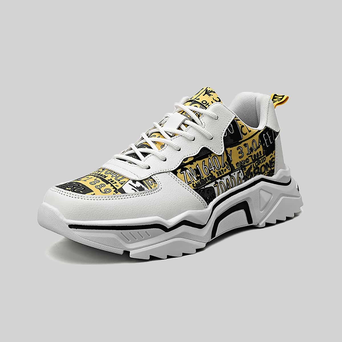SHEIN Lage sneakers met genummerde grafische veters aan de voorkant