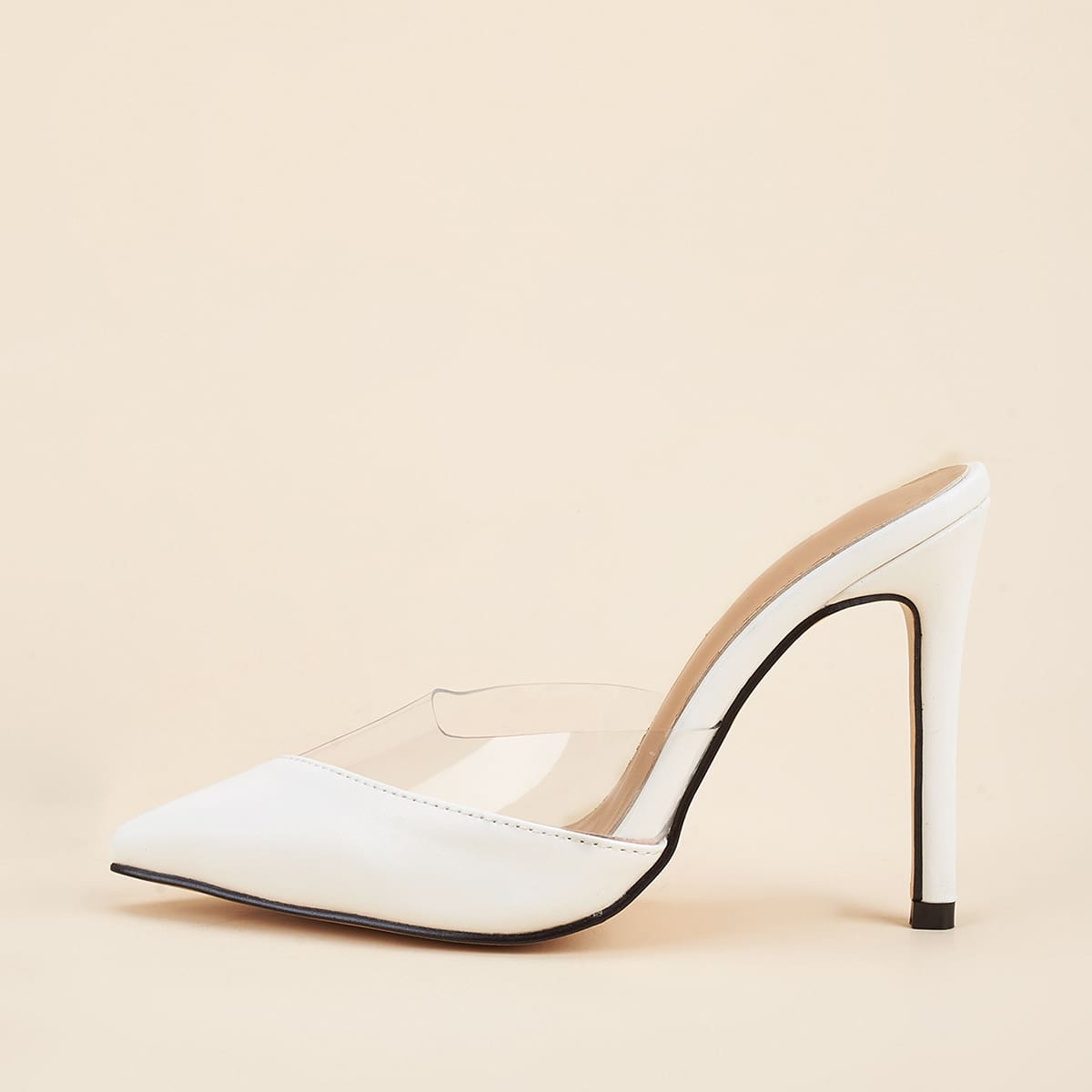 Clear Detail Stiletto Heeled Mules