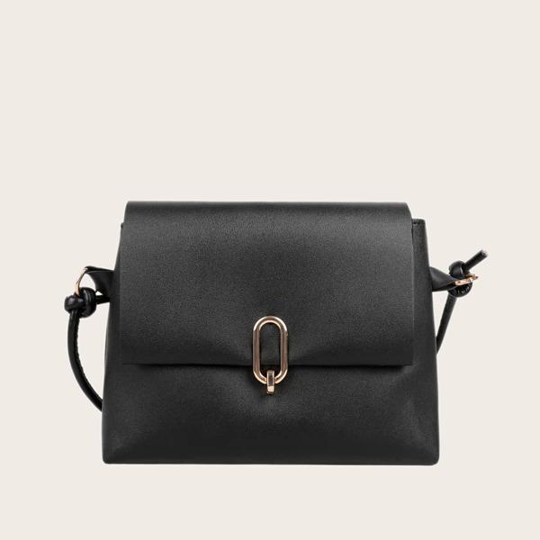 Minimalist Flap Crossbody Bag, Black