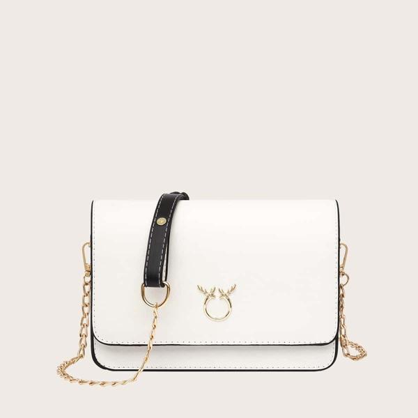 Metal Detail Flap Chain Bag, Beige