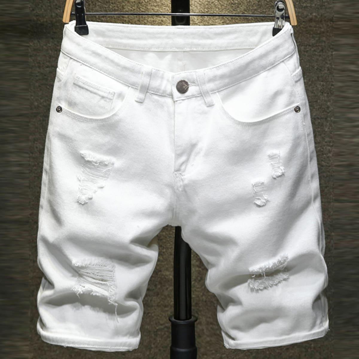 Мужские рваные джинсовые шорты-бермуды от SHEIN