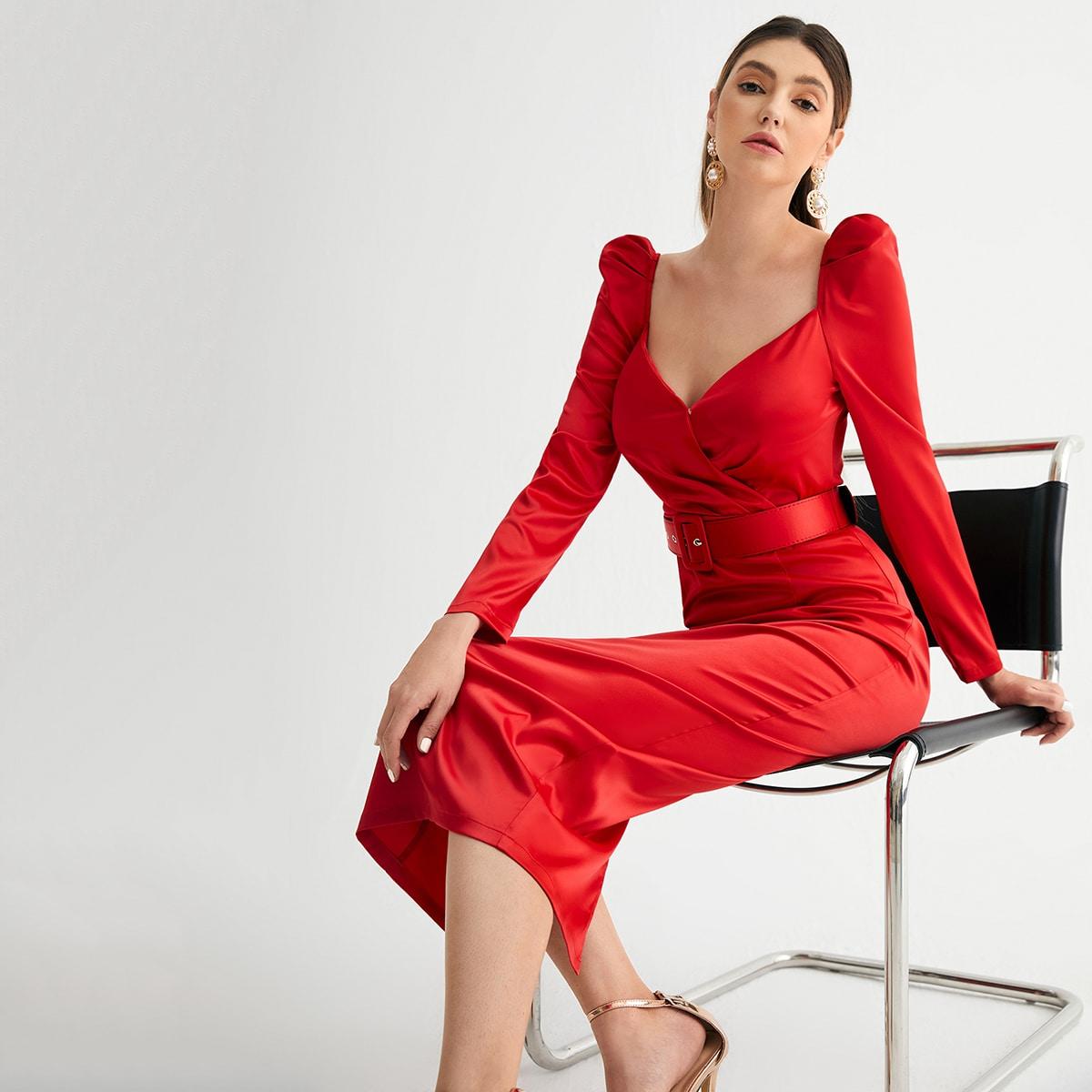 Платье с глубоким декольте с поясом SheIn swdress07210311178
