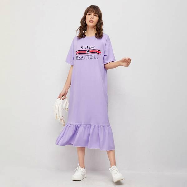 Flounce Hem Heather Letter Graphic Tee Dress, Pastel lilac purple