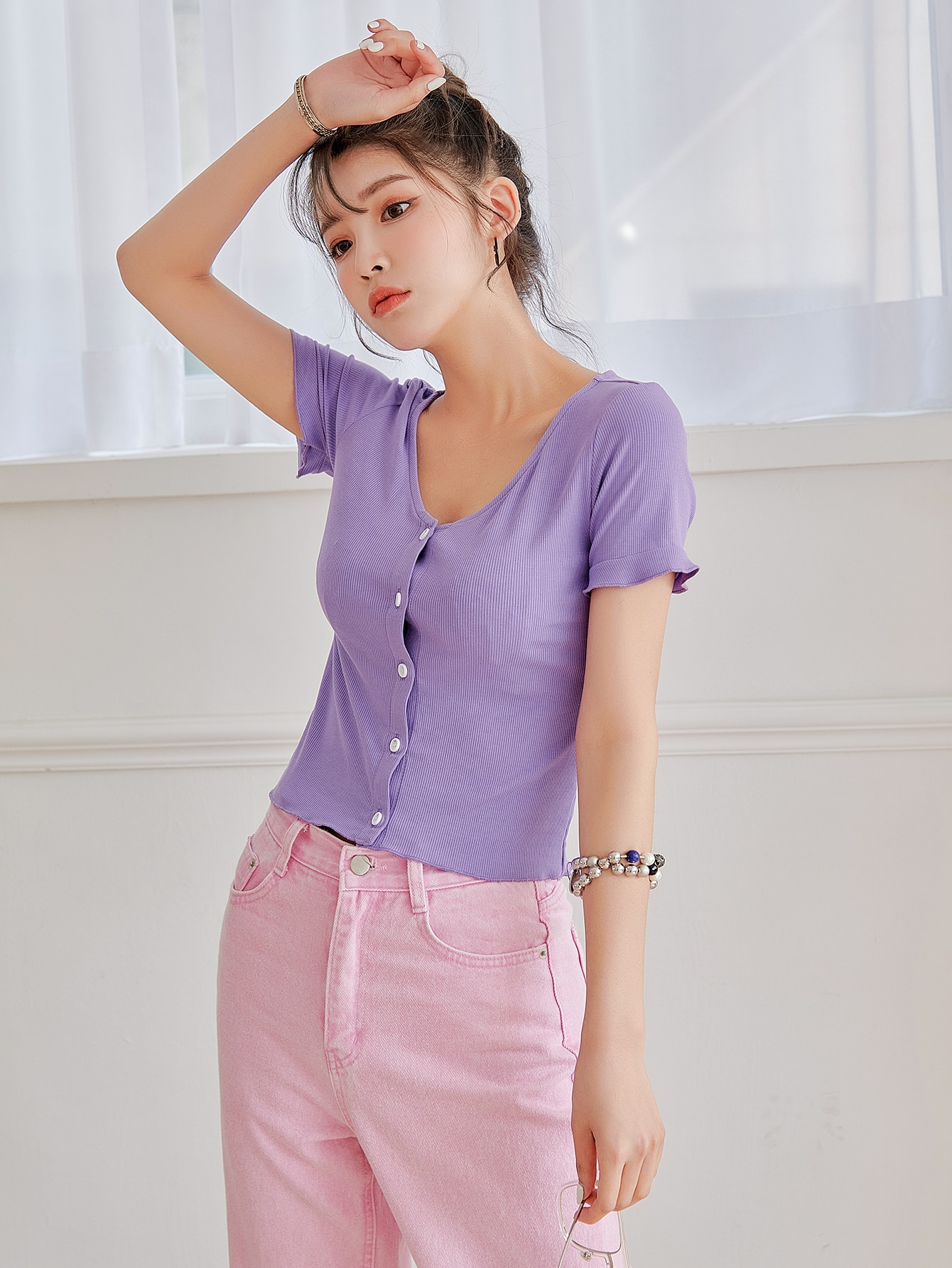 Frill Cuff Button Up Top