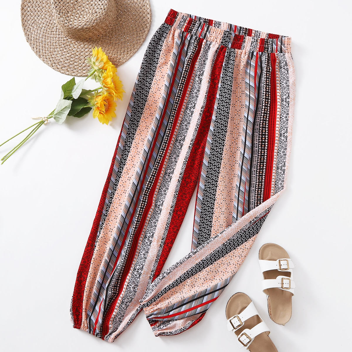 Plus Striped & Geo Print Carrot Pants