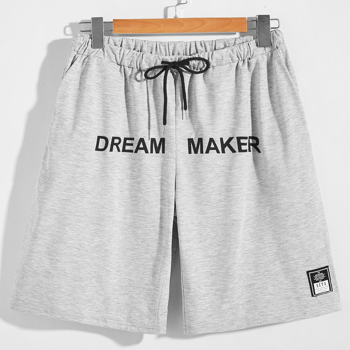 Men Drawstring Front Letter Graphic Shorts, SHEIN  - buy with discount