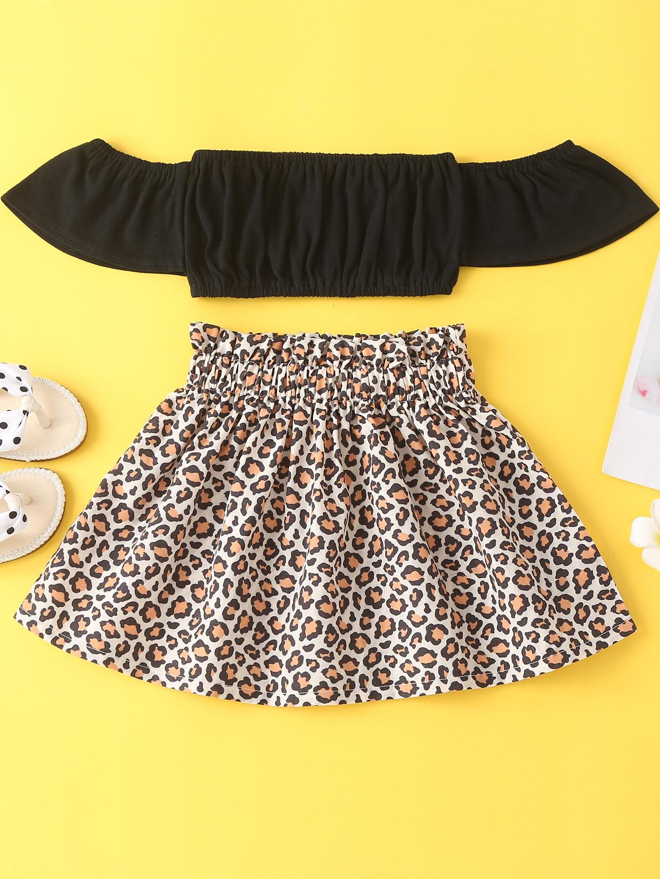 Baby Girl Off The Shoulder Crop Top & Leopard Print Skirt
