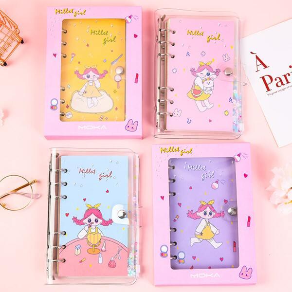1pc Cartoon Graphic Cover Random Notebook, Multicolor