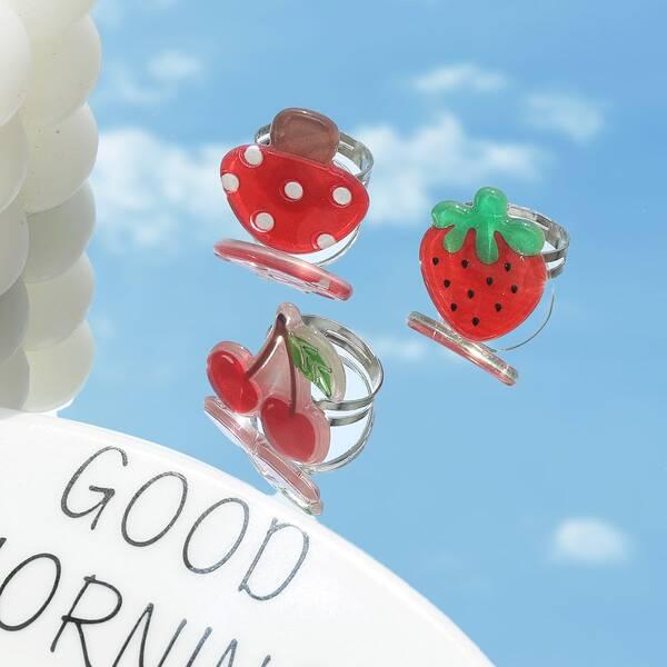 3pcs Fruit Design Ring, Red