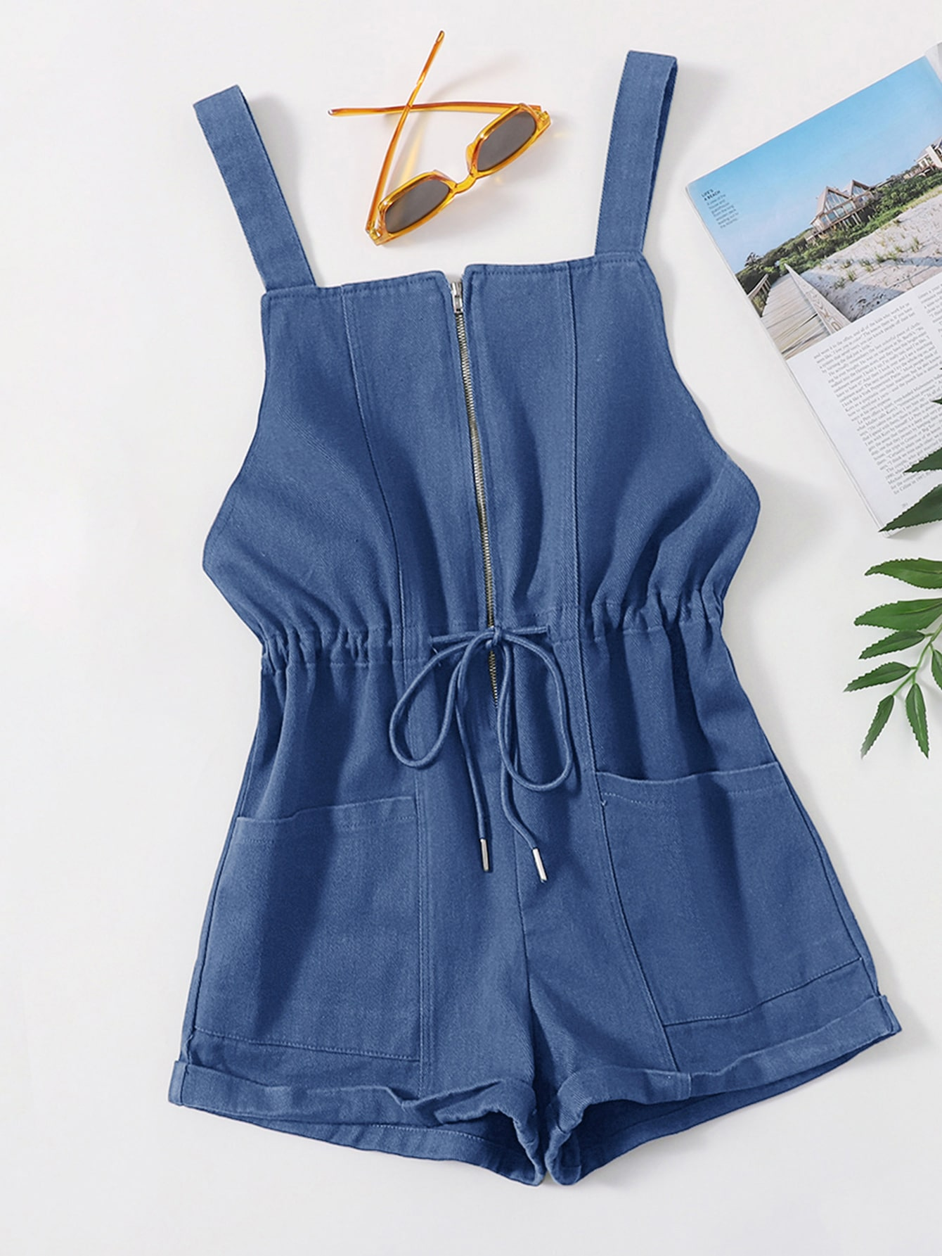 pocket front drawstring waist cuffed overalls