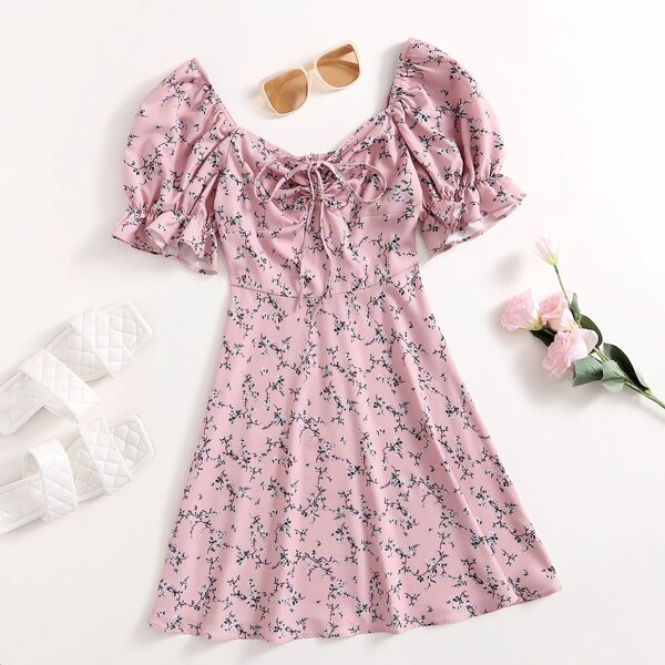 Ditsy Floral Flounce Sleeve Ruched Knot Front Dress, Baby pink