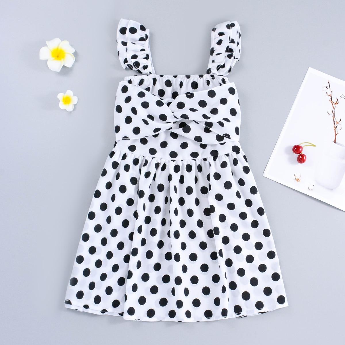 Girls Polka Dot Twist Front Smock Dress