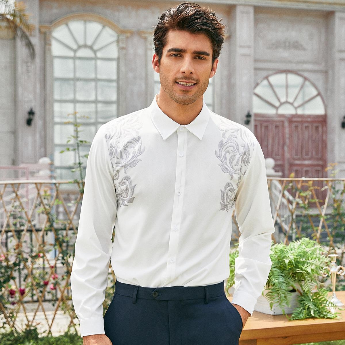 с вышивкой Цветочный Повседневный Мужские рубашки