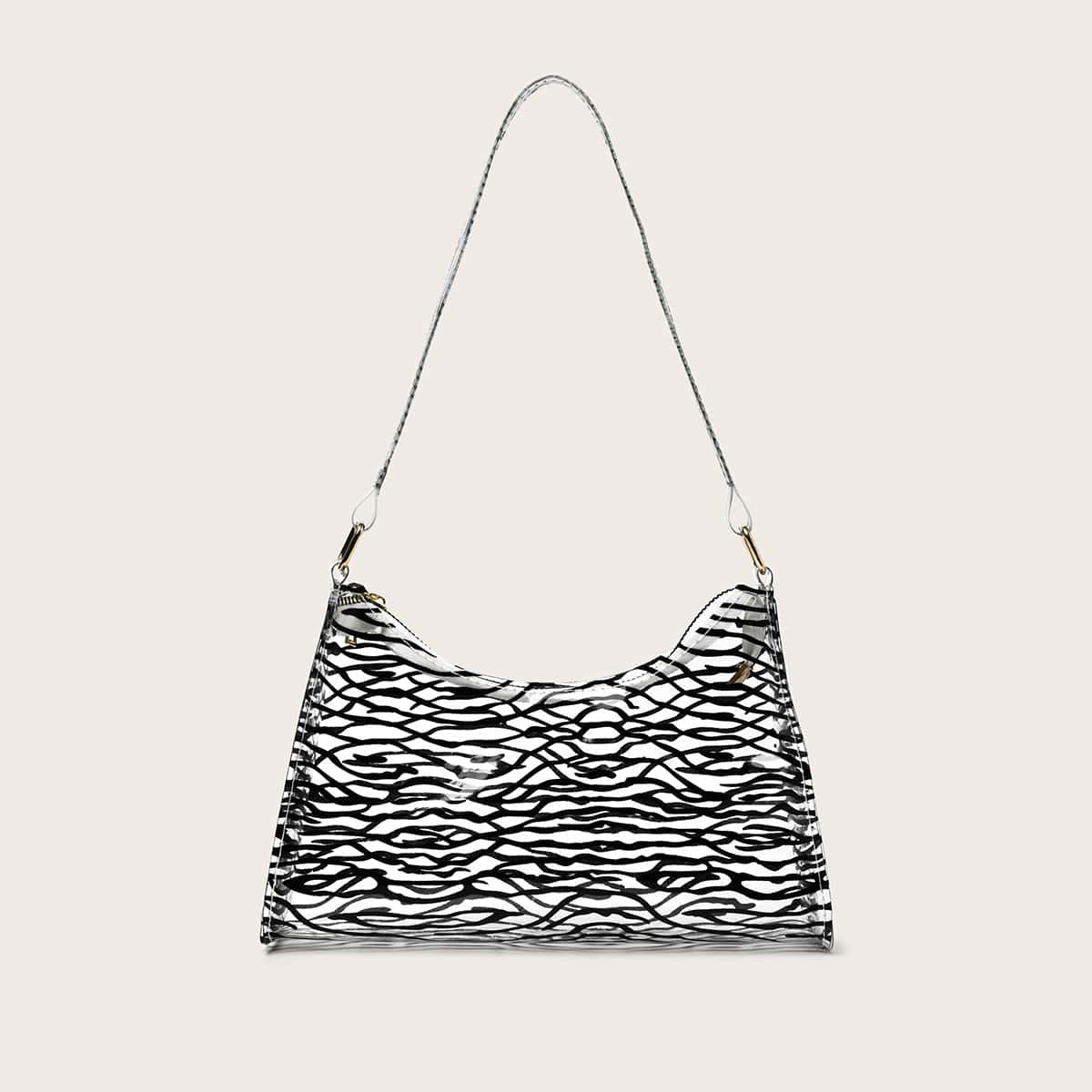 Clear Allover Graphic Baguette Bag