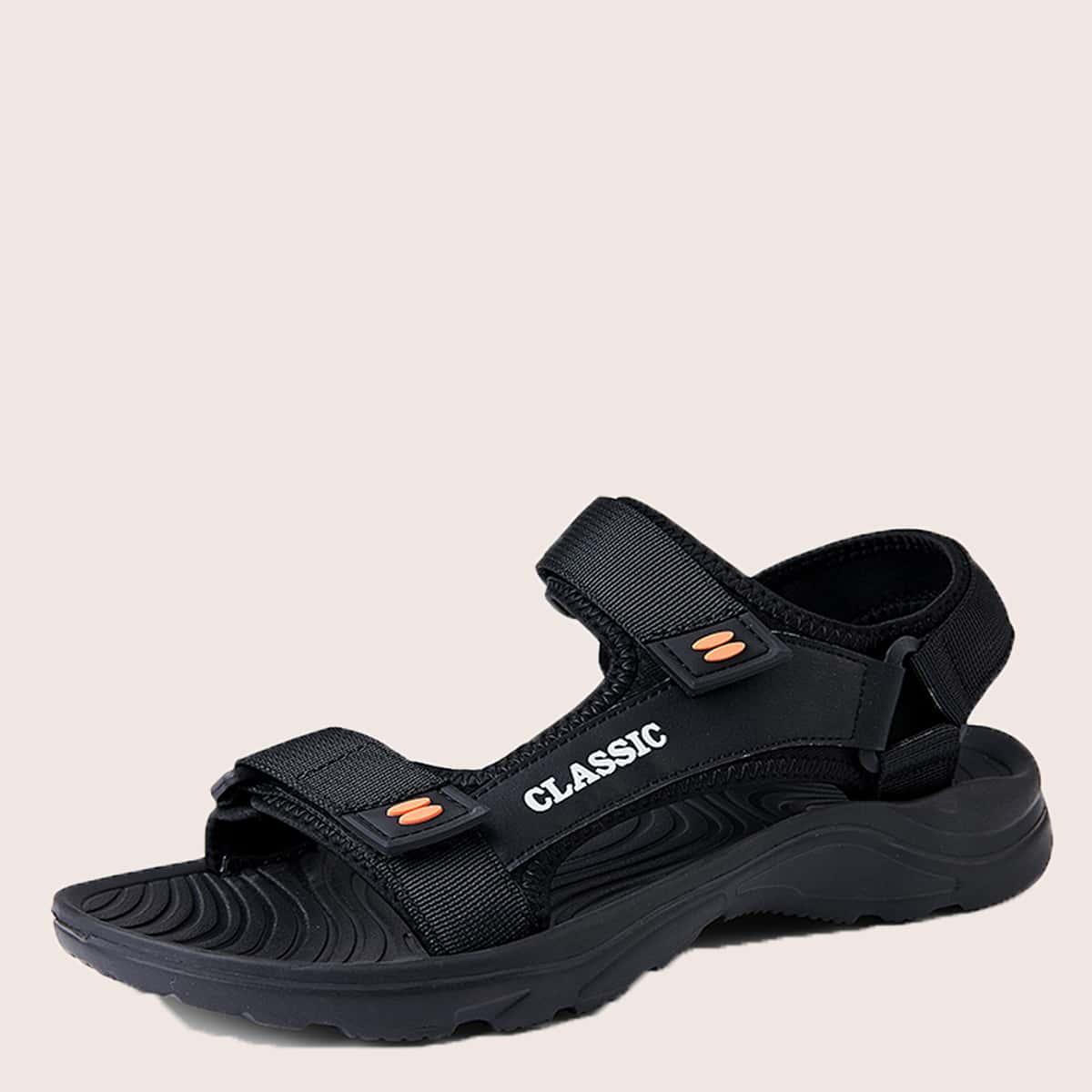 SHEIN Heren letter grafische klittenband sandalen