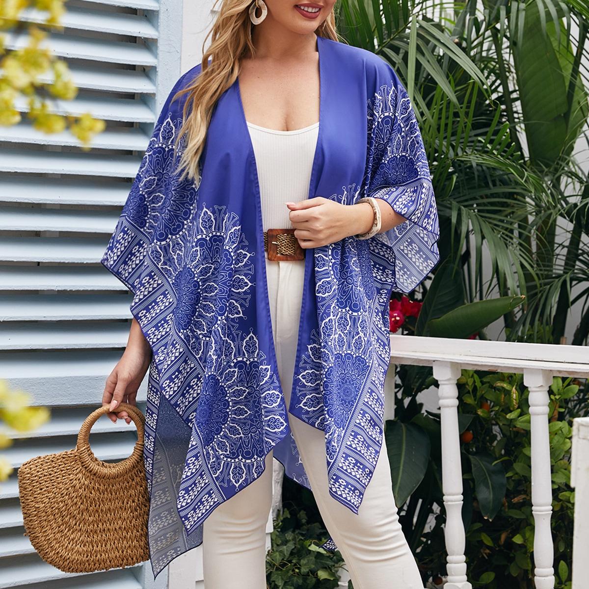 Plus Cloak Sleeve Graphic Print Kimono