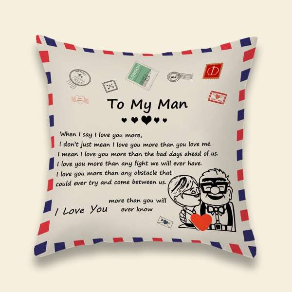 Slogan Graphic Cushion Cover Without Filler, Multicolor