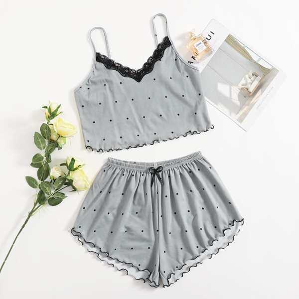 Contrast Lace Polka Dot Lettuce Trim Cami PJ Set, Light grey