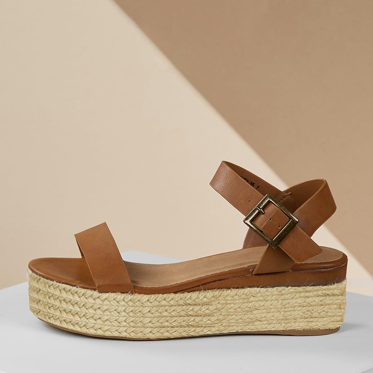 Плоские сандалии с пряжкой и джутовой отделкой