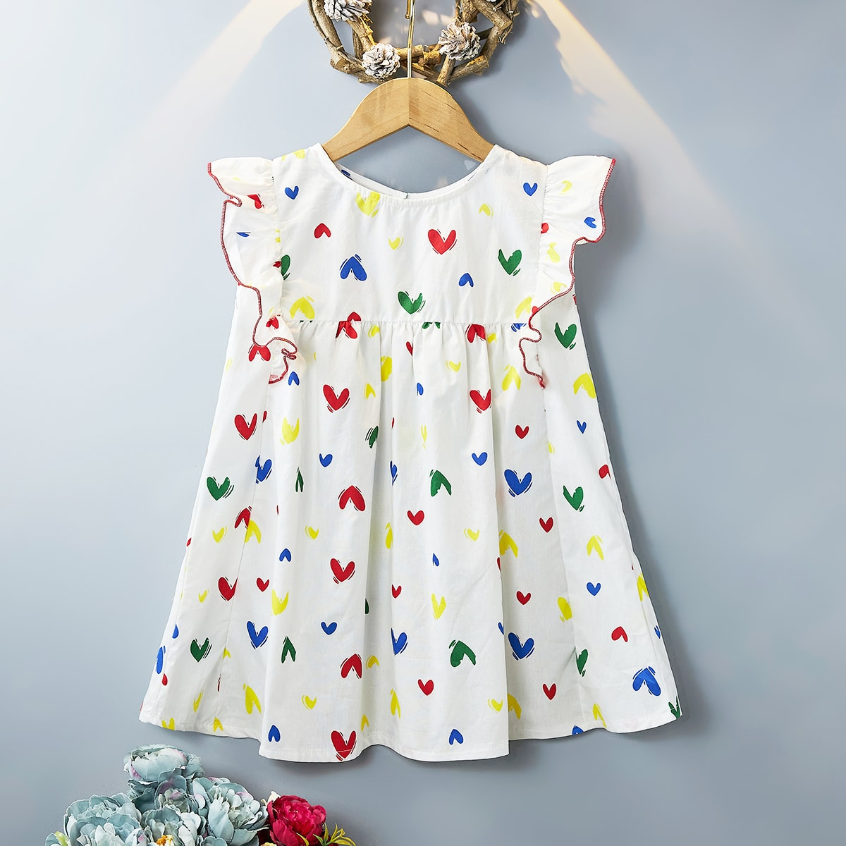 Toddler Girls Allover Heart Ruffle Smock Dress, SHEIN  - buy with discount