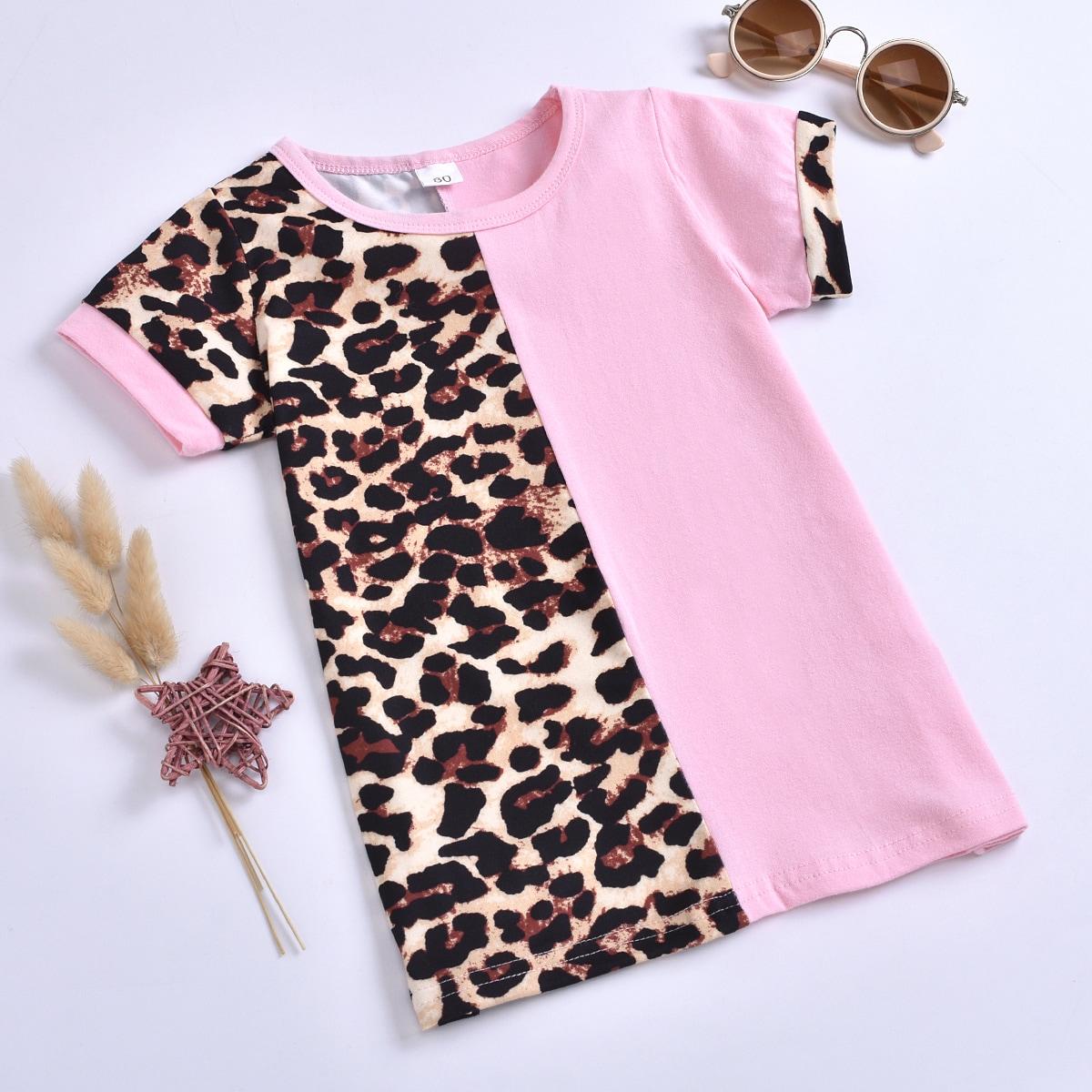 Контрастное платье-футболка для девочек от SHEIN
