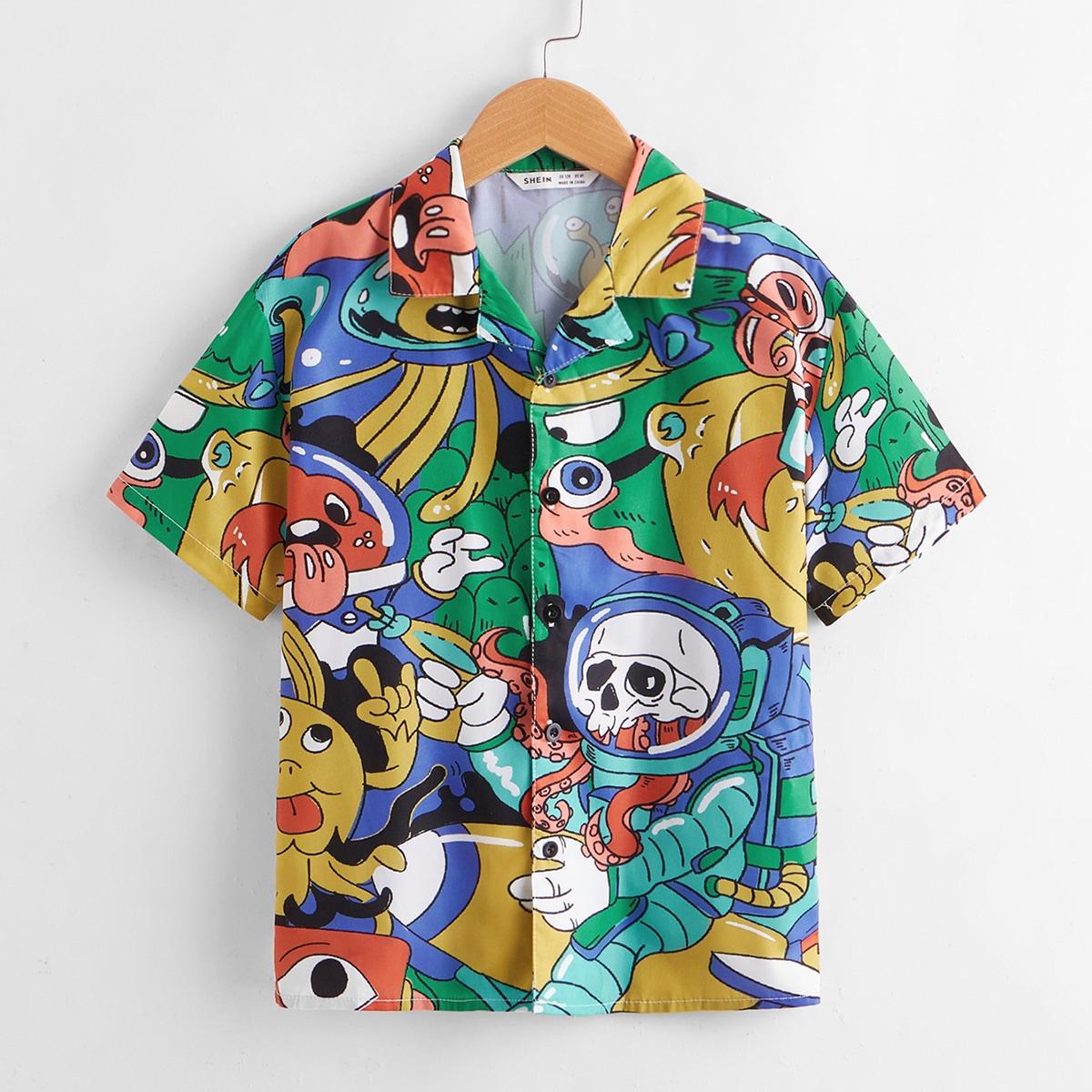 Рубашка для мальчиков с мультипликационным рисунком