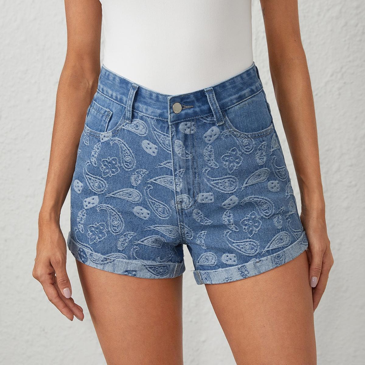 SHEIN Casual Paisley Denim shorts