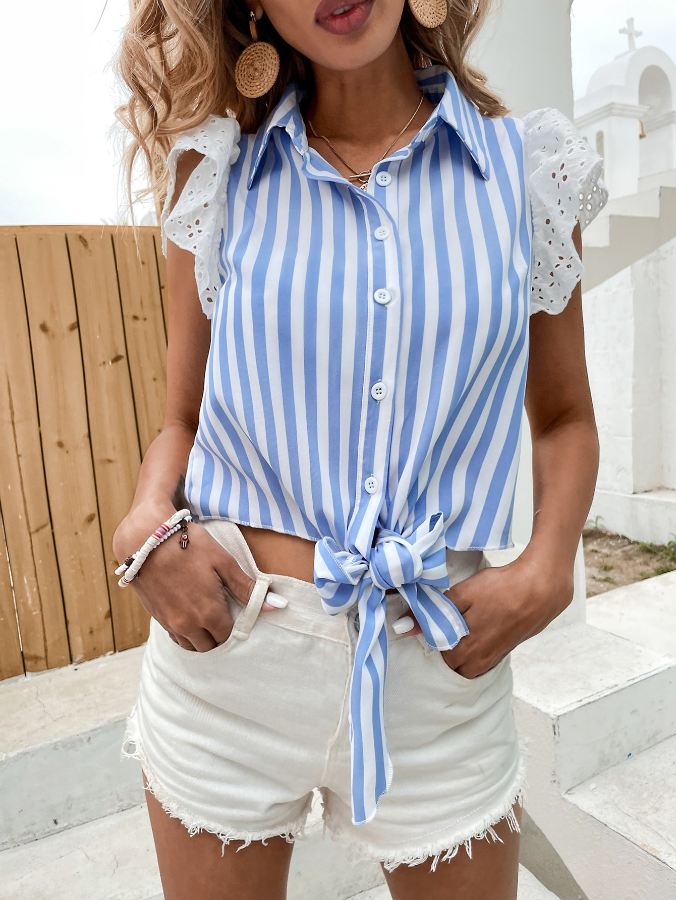 striped contrast schiffy sleeve blouse
