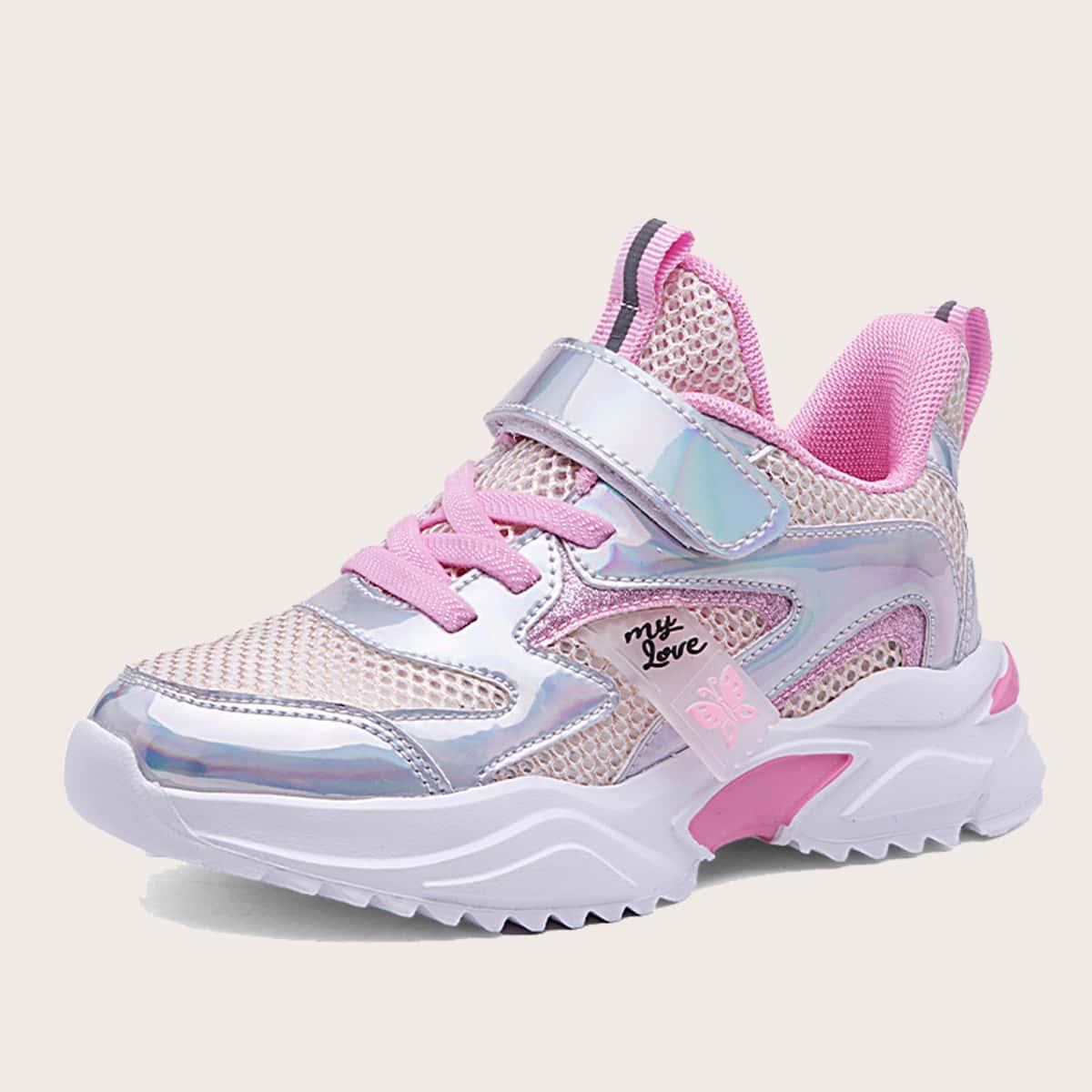 для девочек Обувь сетчатая вставка на липучке спортивный от SHEIN