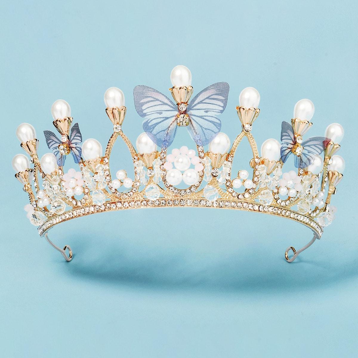 Faux Pearl Decor Crown Hair Accessory