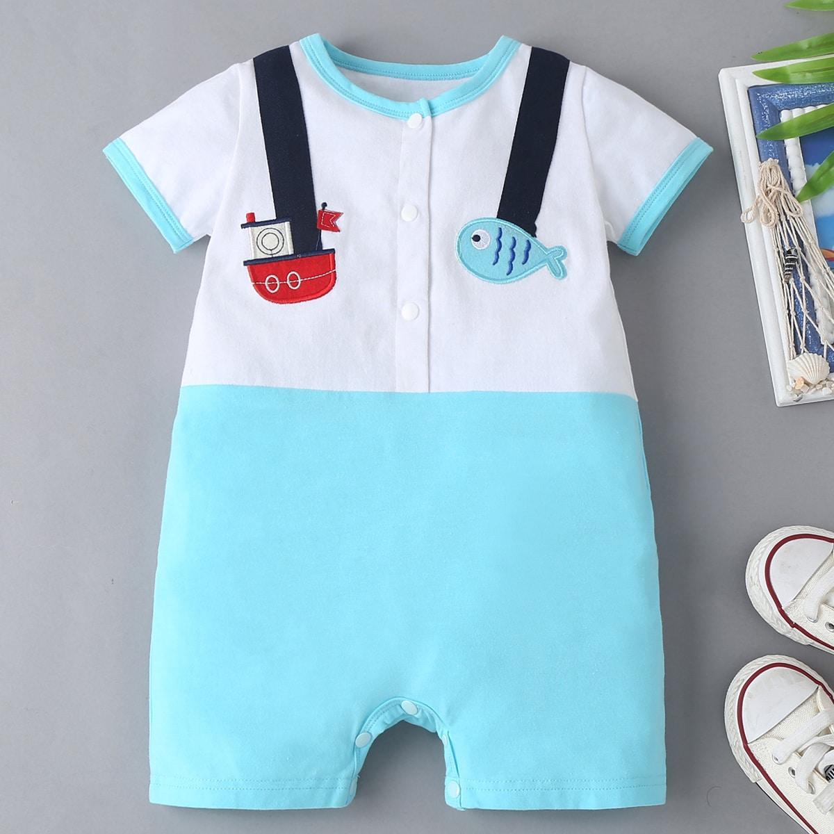 Baby Boy Cartoon Embroidery Button Half Romper