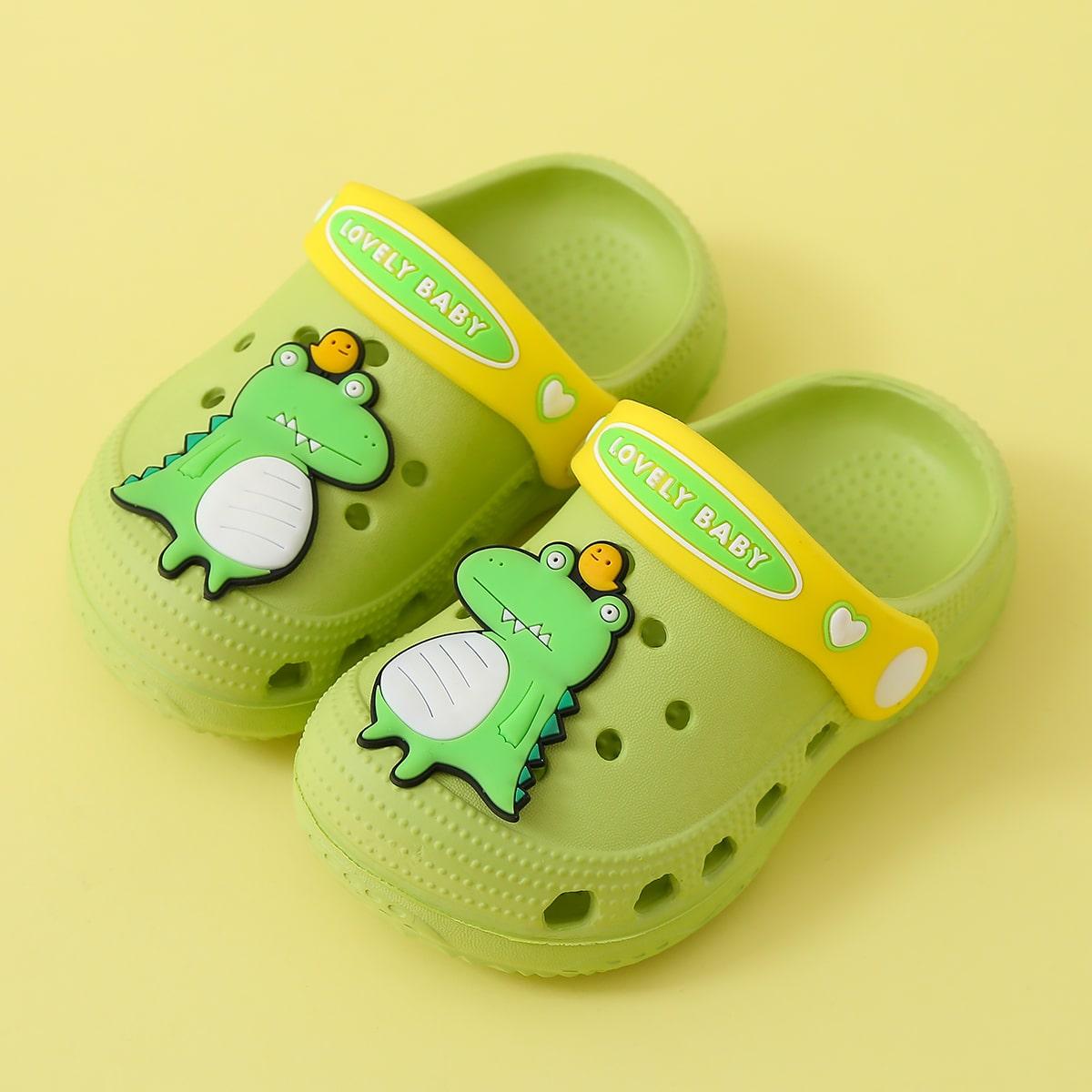 SHEIN / Toddler Boys Cartoon Dinosaur Patch Slippers