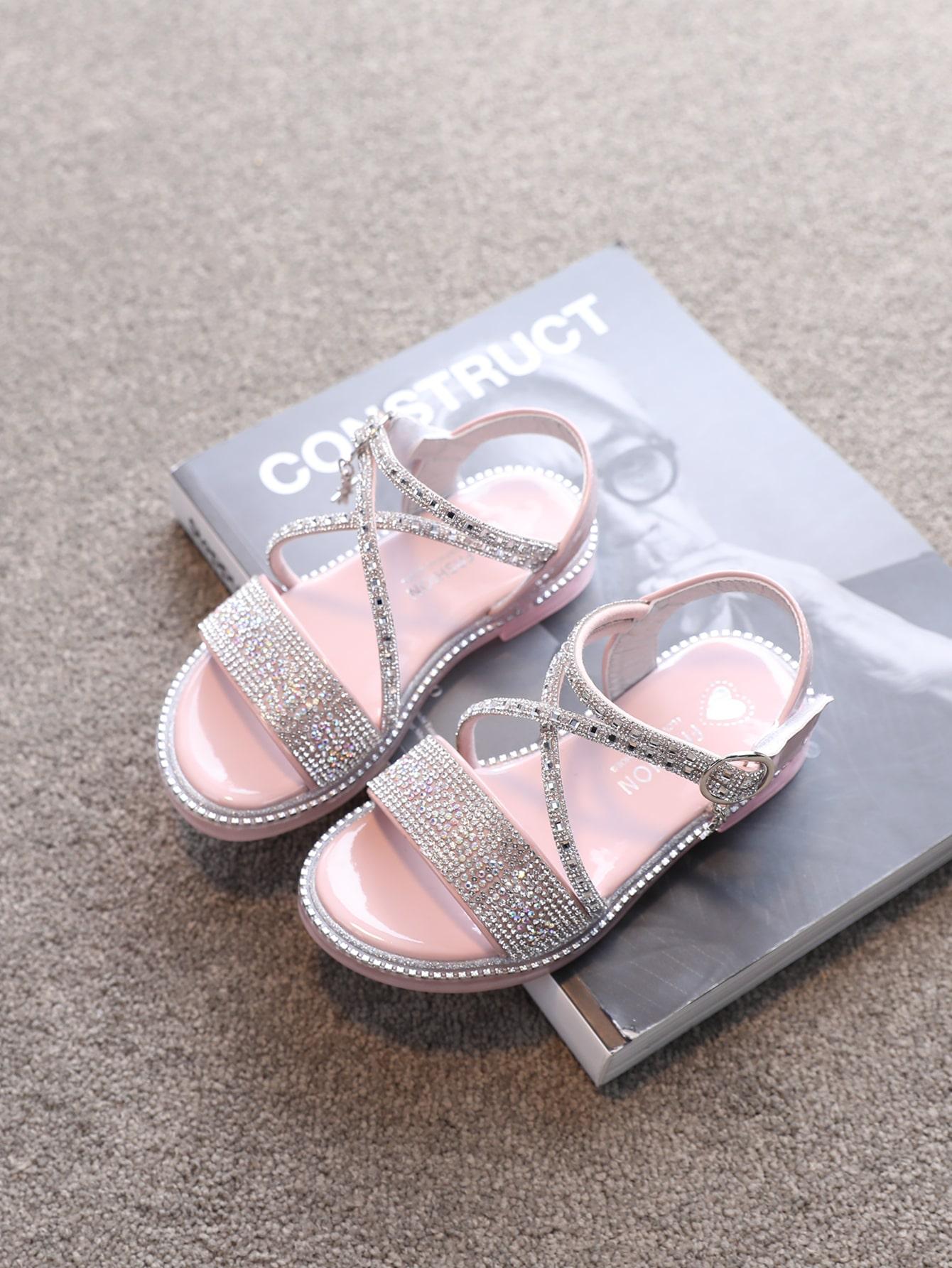 Girls Rhinestone Decor Strappy Sandals