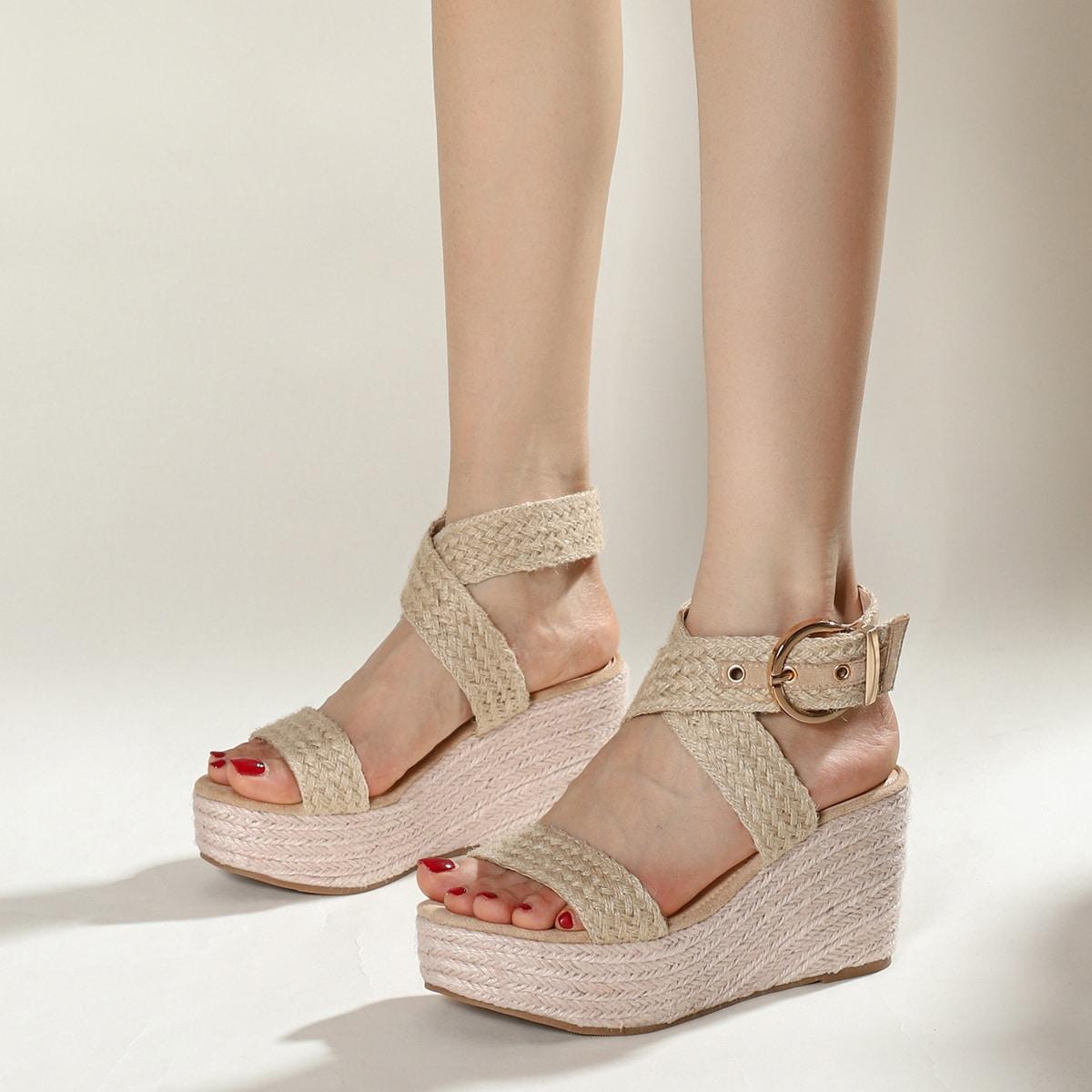Woven Cross Strap Espadrille Wedge Sandals