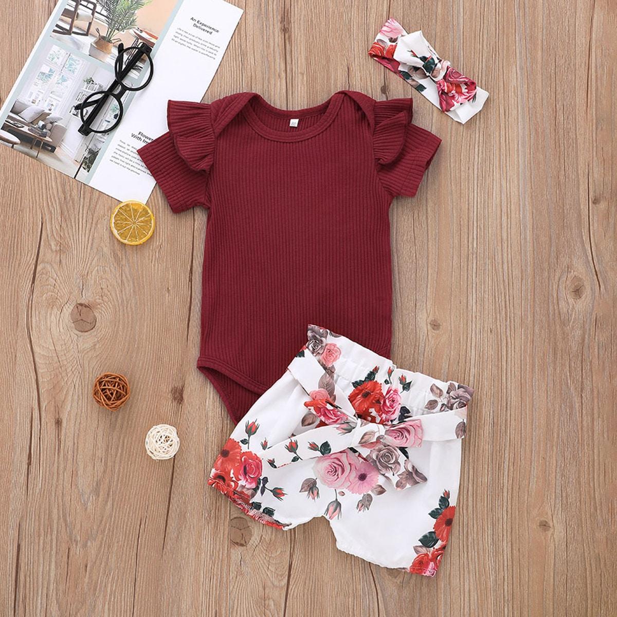 Strick Body und Shorts mit Blumen Muster sowie Kopfband