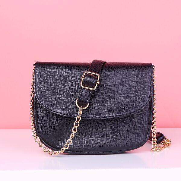 Minimalist Flap Saddle Bag, Black