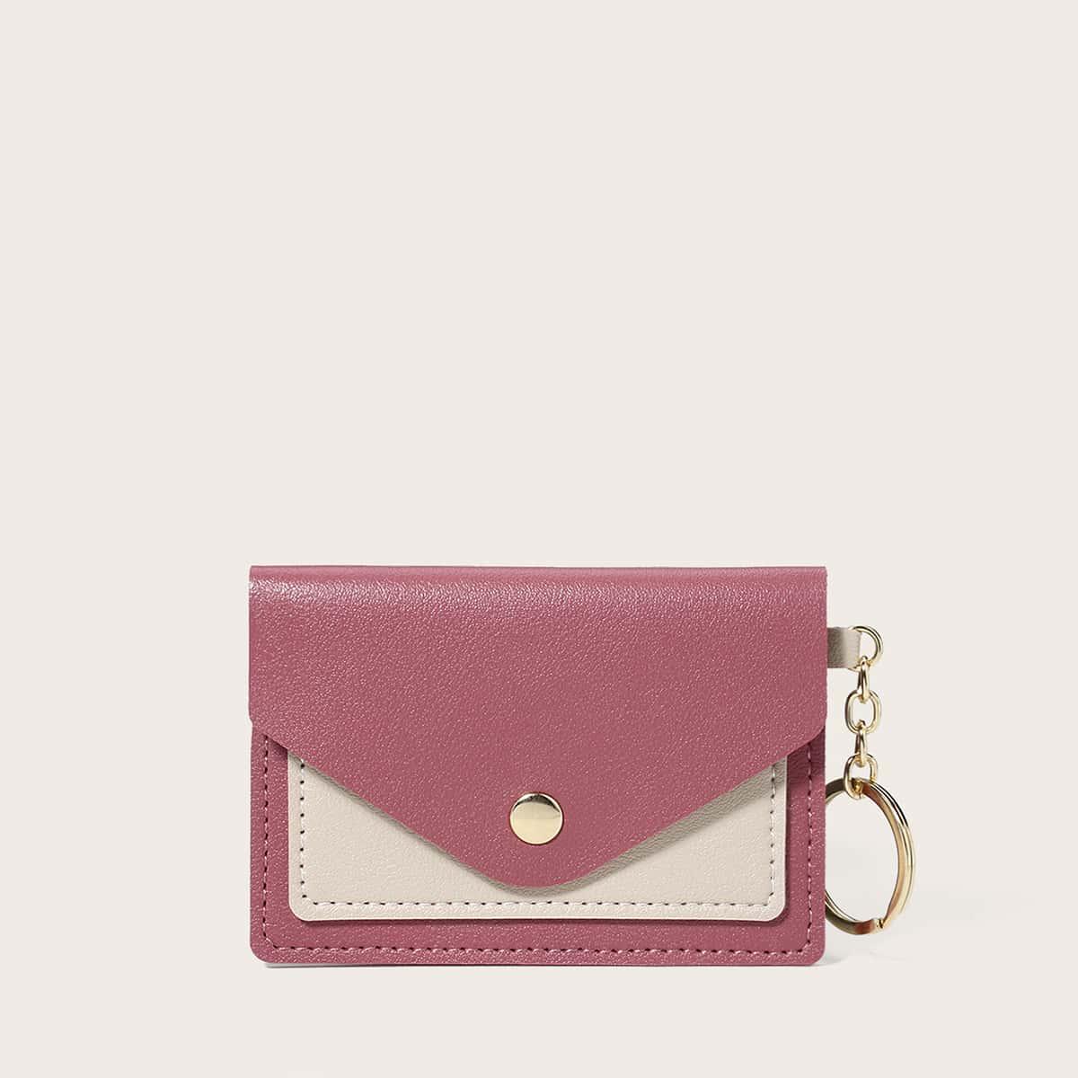 SHEIN Tweekleurige portemonnee met drukknoopsluiting