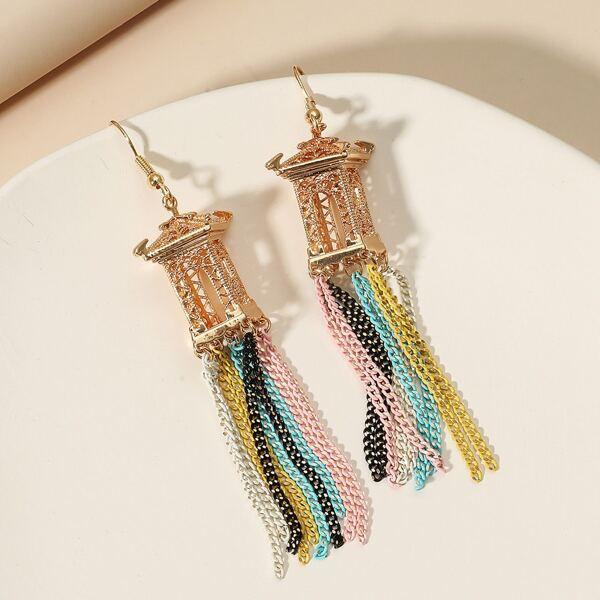 Chain Tassel Drop Earrings, Multicolor